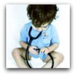 Small child with stethoscope