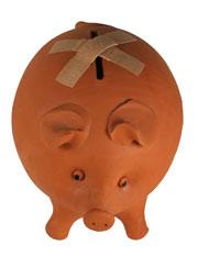 piggy bank with bandage