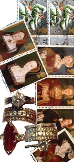stamps and jewelry