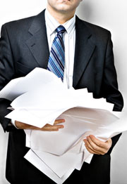 man with document
