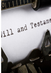 typewriter with will and testament