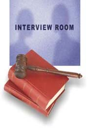 interview room, law books and gavel
