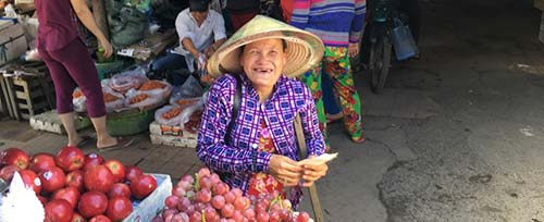 smiling old lady at market