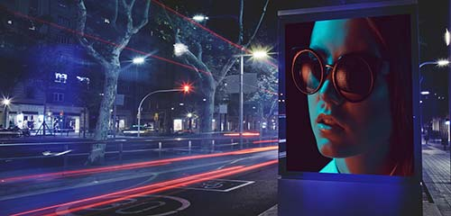 model on billboard