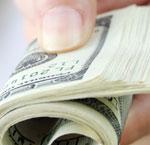 handing over money
