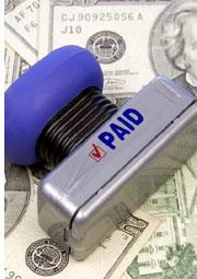 paid stamp on money