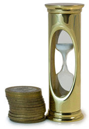 hourglass and coins illustrating loan agreement