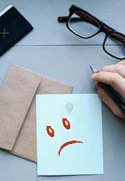 letter with sad face