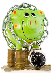 piggy bank with chain and lock