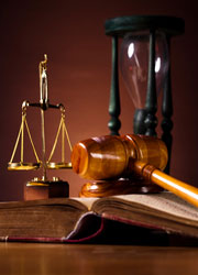 gavel, scales and hourglass