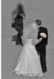 bridal couple on beach