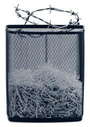 shredded documents in bin