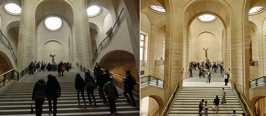 two images of Daru staircase in Louvre