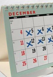 dates marked on calendar