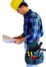 contractor reading building plan