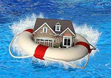 house in life belt on sea