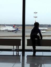 traveling boy at airport