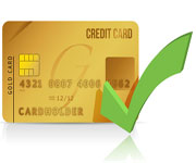 gold credit card with green tick