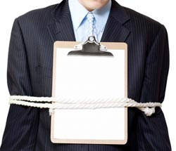 employee restrained with rope and contract
