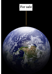 earth with for sale sign