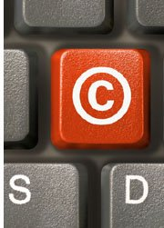 computer key with copyright symbol