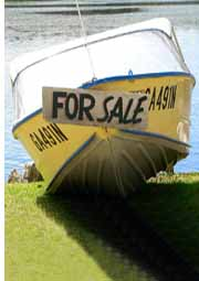For Sale sign on boat