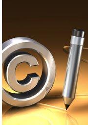 copyright symbol and pen