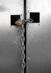 chain and padlock on door