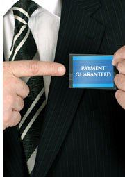 man with payment guaranteed tag