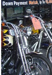 motorcycles on display