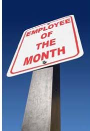 sign with employee of the month