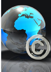 globe and copyright symbol