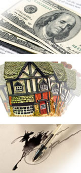 money, house and signature