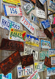 licence plates on wall