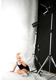 toddler in photo studio