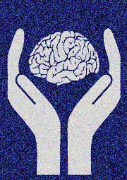 hands holding brain illustration