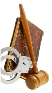 gavel, cuffs and law book
