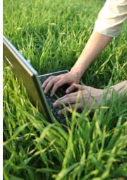 working on laptop on lawn