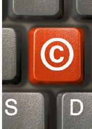 computer key with copyright symbol