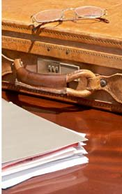 briefcase and documents