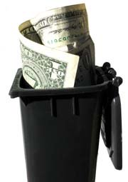 bin with money