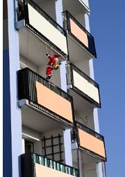 apartment rental building with santa claus