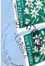 stamps on envelope