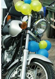 motorcycle with balloons